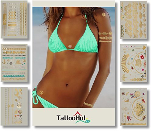 - Tattoos - Gold Rainbow Glitter Metallic Temporary Tattoo Jewelry (100+) Tropical Hawaiian Holiday Sparkle Hearts Mermaid Seashells Flowers Stars Best Friend Bracelets Necklace Charms Boho (Fun Flash)