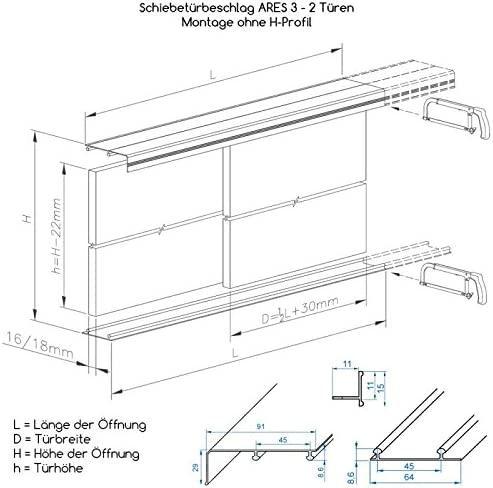 Puerta corredera-sistema ARES3 plata para 18 mm grosor de la puerta, carril de 2,70 M, 3 puertas de hasta 70 kg: Amazon.es: Bricolaje y herramientas