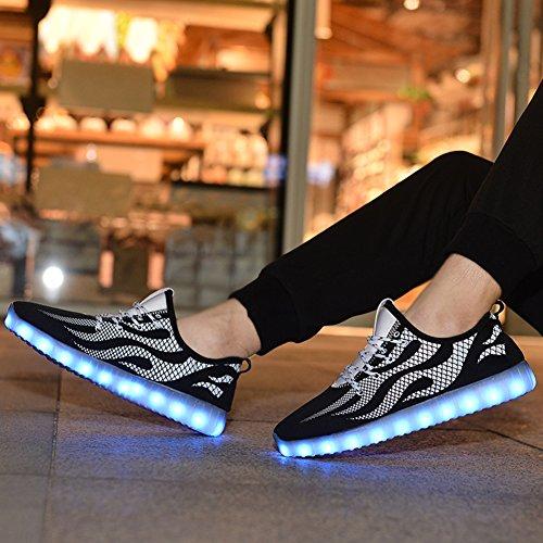 Coolloog LED Luminous Männer & Frauen USB Lade Licht bunte blinkende Turnschuhe Weiß