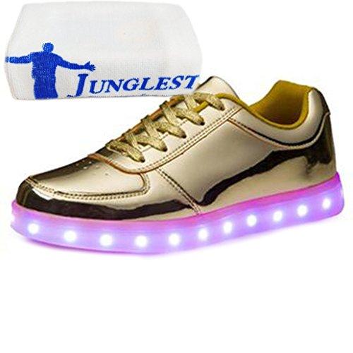 (Present:kleines Handtuch)JUNGLEST 7 Farbe USB Aufladen LED Leuchtend Sport Schuhe Sportschuhe Sneaker Turnschuhe für Unis Golden
