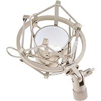 D DOLITY Suporte universal para microfone com suporte de choque de aço inoxidável - Prata branca - 4,5 cm