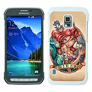 Great Quality Samsung Galaxy S5 Active Case ,Disney The Little Mermaid Ariel Princess Tattoo White Samsung Galaxy S5 Active Cover Case Hot Sale Phone Case Unique And Beatiful Designed