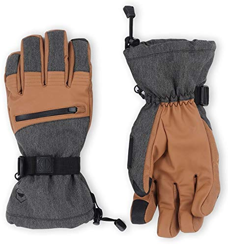 The Slugger Ski & Snowboard Glove - Waterproof Gloves with Synthetic Leather Shell Construction & Waterproof Zipper Pocket - Designed for Skiing, Snowboarding, Shoveling - Touchscreen Compatible ()