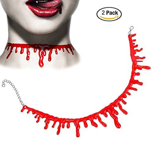 2 PCS Choker Necklace Party Costumes Cut Neck Bloody Cosplay Bloodstains Halloween Pajamas Accessory (Creative Brother And Sister Halloween Costumes)