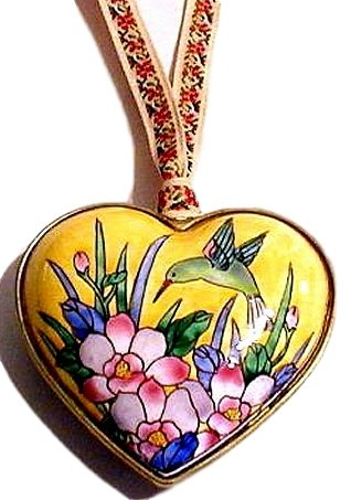 Kelvin Chen Green Hummingbird & Flowers Enamel Heart Ornament