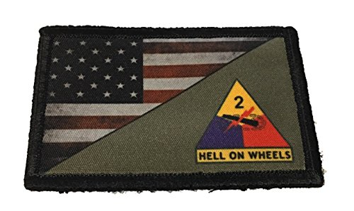 Full Color 2nd Armored Division USA Flag Morale Patch Tactical Military. 2x3