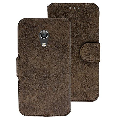 Handy Schutz Tasche Geldbeutel Hülle Flip Case Etui Wallet Motorola G2 Braun