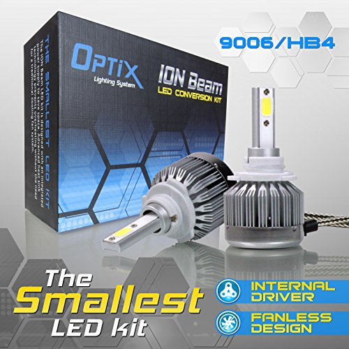 Low Watt Kit (Optix 60W 6000LM LED Headlight Conversion Kit - 9006 HB4 Low Beam / Fog Light Bulbs - 6000K 6K Diamond White - Premium Epistar COB Chip - Fanless All-In-One Plug and Play Design)
