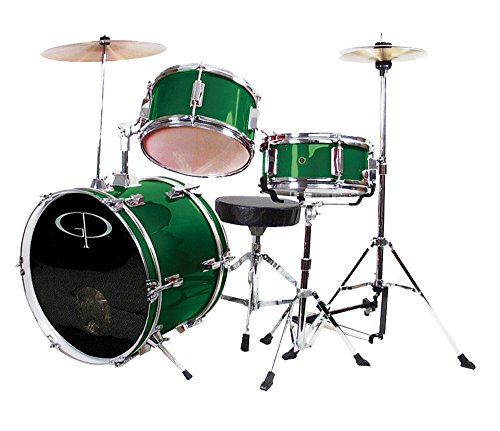 GP Percussion Deluxe GP50 3-Piece Kid's Drum Set Bundle with Drum Sticks, Drum Key, and Polishing Cloth - Metallic Green Deluxe Percussion Set