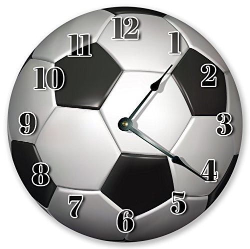 10.5'' SOCCER BALL CLOCK - Large 10.5'' Wall Clock - Home Décor Clock by Sugar Vine Art