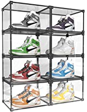 Mivnue Clear Shoe Box Stackable Storage Shoes Display Shelf Case with Drop Front Side-Open Shoe Container Transparent Plastic Shoes Organizer Shoe Display Case (Black, 8)