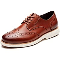 LAOKS Mens Oxford Shoes Wingtip Genuine Leather Lace up Dress Shoes