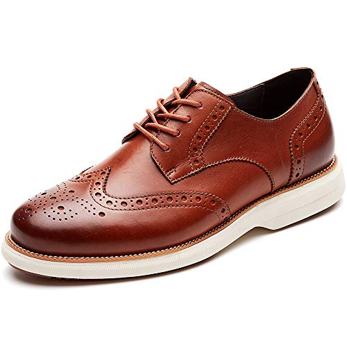 LAOKS Mens Oxford Shoes Wingtip Genuine Leather Lace up Dress Shoes, Brown