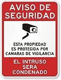 """Aviso De Seguridad, Esta Propiedad es Protegida por Camaras de Vigilancia, El Intruso sera condenado - High Intensity Grade Reflective Sign, 80 mil Aluminum, 24"""" x 18"""" - Mount a Security Notice Sign that reaches out to a Spanish-speaking audi..."""