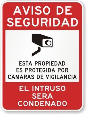 Noticia De Seguridad, Esta Propieadad Es Protejida Por Camara De Vigilancia, Sign, 24&quot