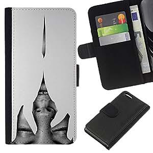 Planetar® Modelo colorido cuero carpeta tirón caso cubierta piel Holster Funda protección Para Apple iPhone 5C ( Heartbreak grises mujer Ojos)