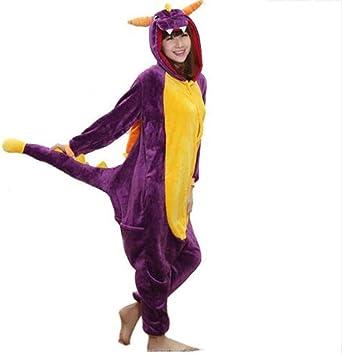FZH Pijama Pijamas Onesie para Adultos Franela Dragón púrpura ...
