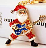 SANTA Playing GUITAR Key Chain is Embellished with Crystal Rhinestones.Fun Christmas Gift for the Musician in your Life