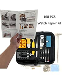168 PCS Watch Repair Kit Professional Spring Bar Tool Set,Watch Battery Replacement Tool Kit,Watch Band Link Pin Tool Set with Carrying Case and Instruction Manual (Black)
