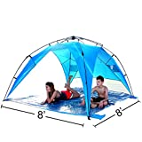 EasyGo Shelter XL – Instant Beach Umbrella Tent Pop Up Easy Up Canopy Sun Sport Shelter with PVC Floor – 8 Foot X 8 Foot XL size. For Sale