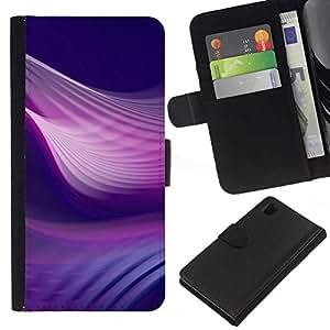 // PHONE CASE GIFT // Moda Estuche Funda de Cuero Billetera Tarjeta de crédito dinero bolsa Cubierta de proteccion Caso Sony Xperia Z1 L39 / Purple Swirls /