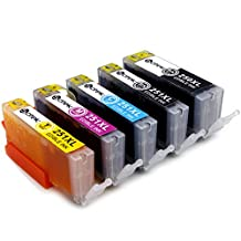 Sotek 5 Pack Edible Ink Cartridge Replacement for Canon PGI-250 CLI-251 (1 LBK, 1 BK ,1 C, 1 M, 1 Y) for Canon Pixma IP7220 IX6820 MG5420 MG5422 MG5520 MG5522 MG5620 MG5622 MG6420 MG6620 MX722 MX922