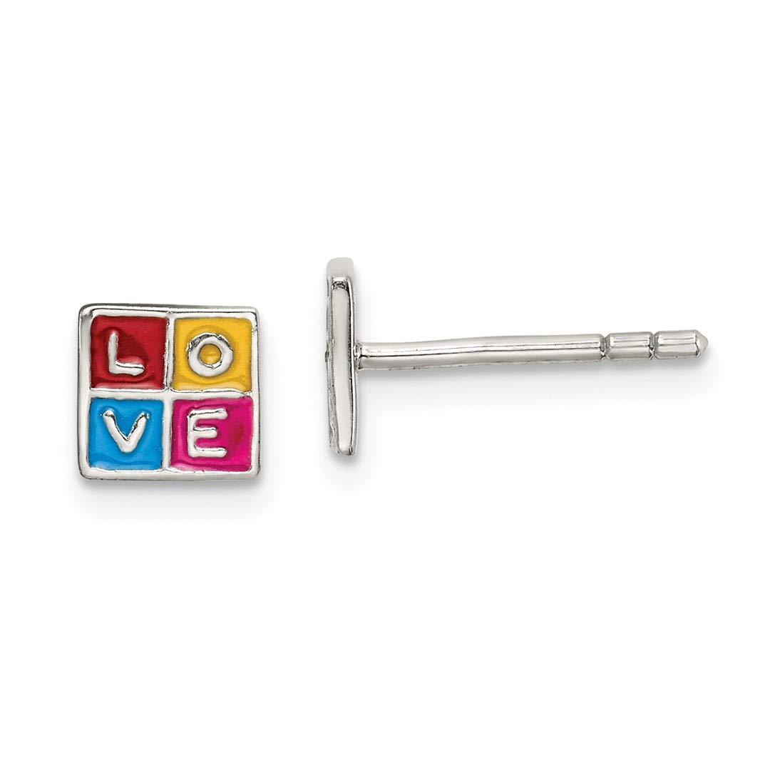 925 Sterling Silver Enameled Love Block Post Stud Earrings Fine Jewelry Gifts For Women For Her