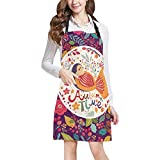 Cute Cartoon Cat Pattern Print Adjustable Kitchen Chef Bib Apron with Pocket for Cooking, Baking, Crafting, Gardening
