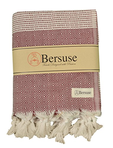 Woven Bamboo Throw (Bersuse 100% Cotton Hierapolis XL Blanket Turkish Towel, 60X95 Inches, Burgundy)