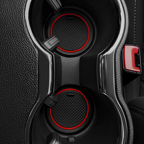 Custom Fit Cup and Door Compartment Liner Accessories for Ford Mustang 2016 2017 2018 2019 2020 5-pc Set (Red Trim) (Emblem Ford Mustang Travel Mug)