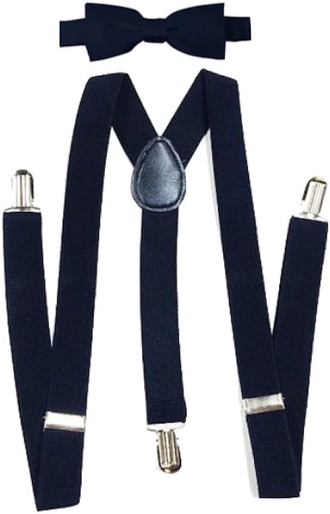 Boy Kids Toddler Purple Cotton Bow tie Elastic Suspenders Braces set 1-8 Y//O