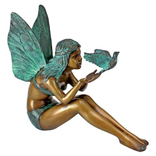 Fairy Bronze Statue - Design Toscano Bird Fairy Garden Statue, Cast Bronze