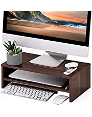 FITUEYES Monitor Riser - 2 Tiers 42.5cm Computer Monitor Stand fit PC Laptop Printer or TV Screen, Home Office Supplies Desk Organization, Brown DT204203WB