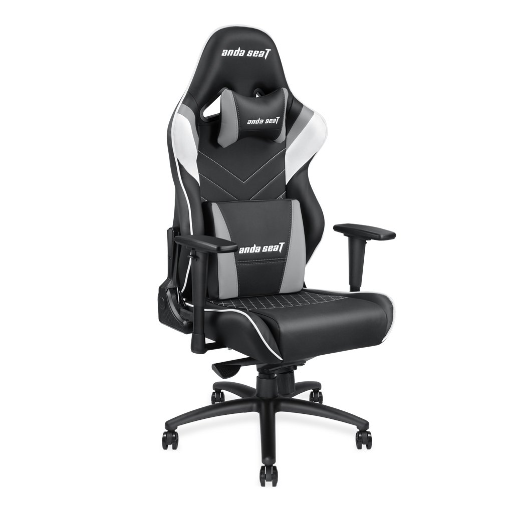 [Large Size Big and Tall 400lb Gaming Racing Chair] Andaseat Swivel Rocker Tilt E-Sports Chair High Back Ergonomic Computer Chair with Adjustable Padded Headrest and Lumbar Support (Black/White/Grey)
