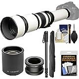 Vivitar 650-1300mm f/8-16 Telephoto Lens (White) (T Mount) 2X Teleconverter (=2600mm) + Monopod + Kit Sony Alpha A3000, A5000, A5100, A6000, A7, A7R, A7S E-Mount Camera