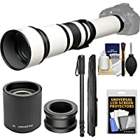 Vivitar 650-1300mm f/8-16 Telephoto Lens (White) (T Mount) with 2x Teleconverter (=2600mm) + Monopod + Kit for Sony Alpha A3000, A5000, A5100, A6000, A7, A7R, A7S E-Mount Camera