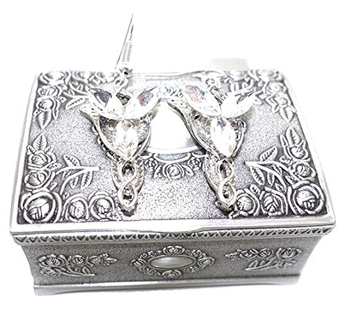 Ruimeng Lord of the Rings Arwen's Evenstar Earrings with Jewelry Box,Lord of Rings Earrings Women,Girls
