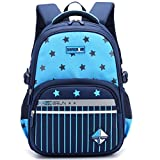 Uniuooi Primary School Backpack Book Bag for Boys Girls 5-12 years old Waterproof Nylon Kids Schoolbag Travel Rucksack, Striped and Star Pattern (Navy + Blue)