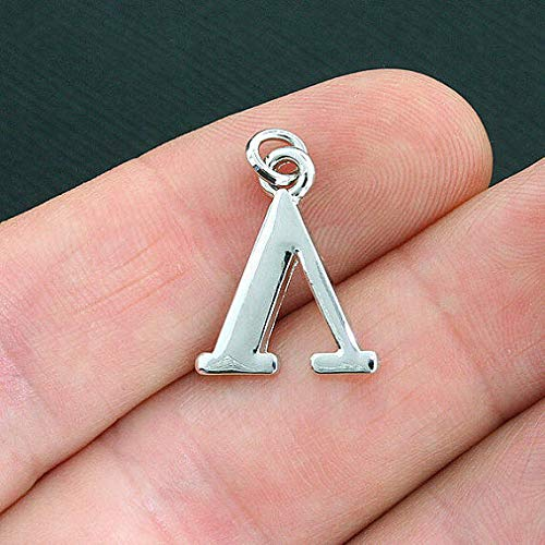 (4 Lambda Greek Letter Charms Antique Silver Tone Jewelry Making Supply Pendant Bracelet DIY Crafting by Wholesale Charms)
