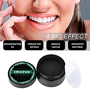 Iwotou Teeth Whitening Charcoal Powder, Natural Activated Charcoal Powder Teeth Whitener of Organic Coconut Shells with Spearmint Flavor for Healthy Cleaner Whiter Teeth, 2.1 oz (mint)