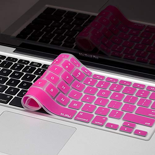 Kuzy - MacBook Keyboard Cover for Older Version MacBook Pro 13, 15, 17 inch and MacBook Air 13 inch, iMac Wireless Keyboard, Apple Computer Accessories Key Board Silicone Skin Protector - Magenta