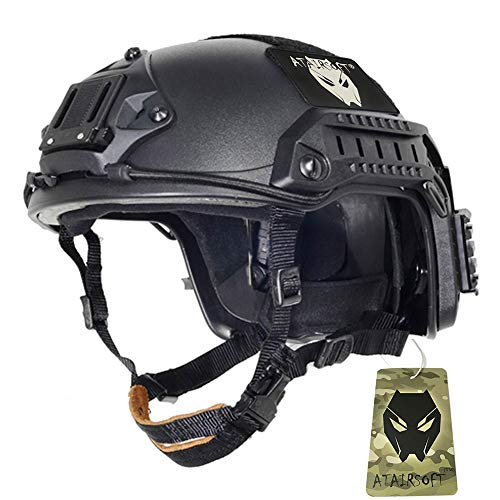 - ATAIRSOFT Adjustable Maritime Helmet ABS for Airsoft Paintball(Black,M/L)