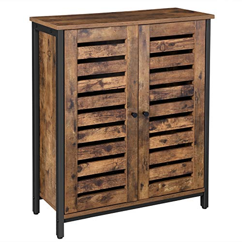 VASAGLE LOWELL Standing Cabinet, Storage Cabinet, Cupboard, Accent Side Cabinet, Sideboard with Louvered Doors, Multifunctional in Living Room, Hallway, Industrial, Rustic Brown ULSC78BX