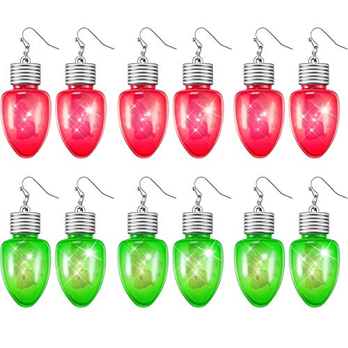 Tatuo 6 Pairs LED Light Up Bulb Christmas Flashing Earring for Holiday Party Favors (3 Pairs Green, 3 Pairs Red) -