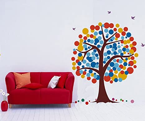 Tree Wall Murals Kids Tree Decal Baby Tree Wall Decal Removable Vinyl Wall Sticker PT-0063-1 Greens and Pinks Pop Decors Corp Polka Dot Tree- 71inch H- PopDecors Greens and Pinks