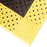 NoTrax PVC Vinyl 520 Cushion-Lok Anti-Fatigue Drainage Mat, for Wet Areas, 30'' Width x 48'' Length x 7/8'' Thickness, Black / Yellow