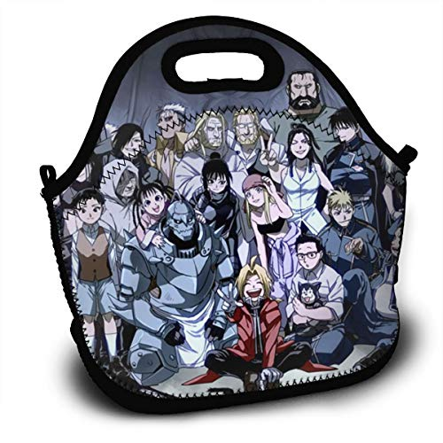 CNJELLAW F-Full-Metal Al-Chemists Funny Reusable Lunch Bags Lunch Tote Lunch Holder Pack Backpack for Office & School
