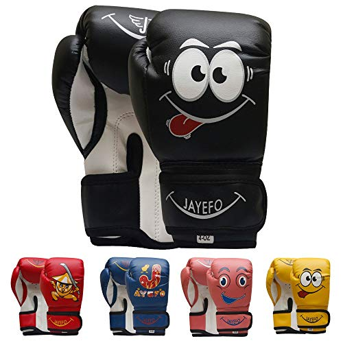 Jayefo Kids Boxing Gloves (Black, 4 OZ)