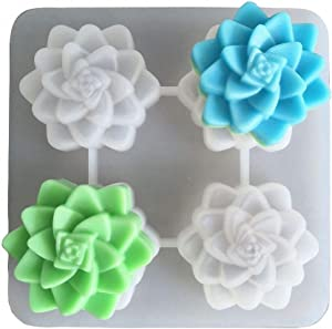 3D Succulent Plants Flower Glycerin Handmade Soap Mold Silicone Candle Mold Food Grade Floral Cupcake Cake Baking Pan Resin Plaster Crayon Wax Melt Mold