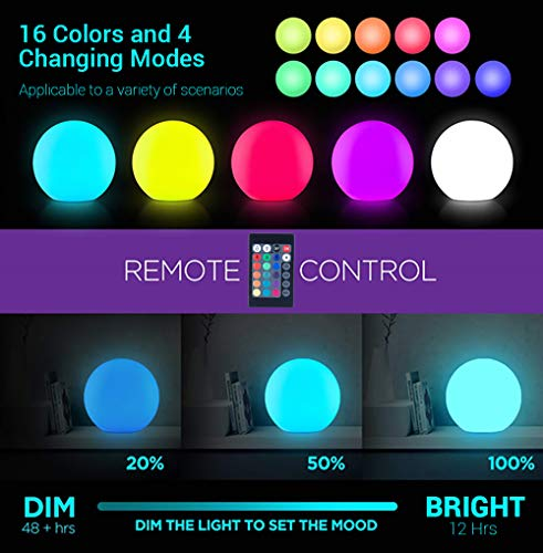 LOFTEK LED Light Ball : 12-inch RGB Colors Light Sphere with Remote Control, Cordless Floating Pool Lights, IP65 Waterproof and Rechargeable Battery, Sensory Toys for Kids, Home, Garden, Party Decor